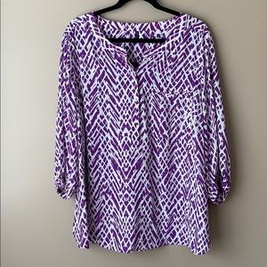 NWT NYDJ purple and white blouse sz 2X
